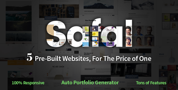 Safal: 5-in-1 Responsive Multipurpose Adobe Muse Theme