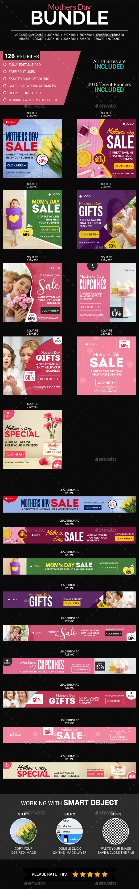 Mothers Day Sale Bundle - Banners & Ads Web Elements