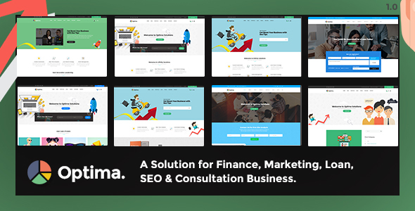 Optima – Multiple solutions for Finance, Marketing, Loan, SEO & Consultation Business, PSD Template