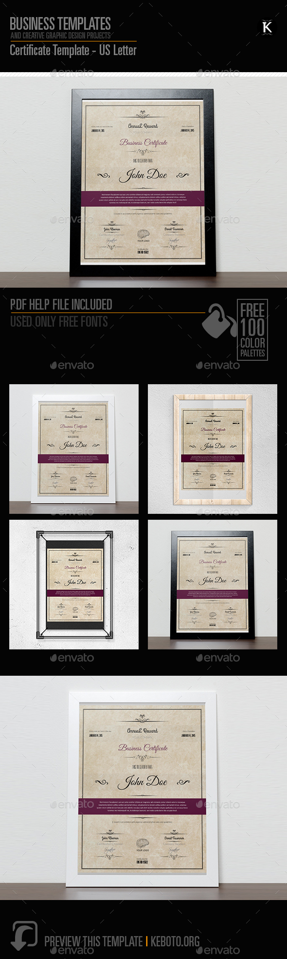 Certificate Template - US Letter - Miscellaneous Print Templates