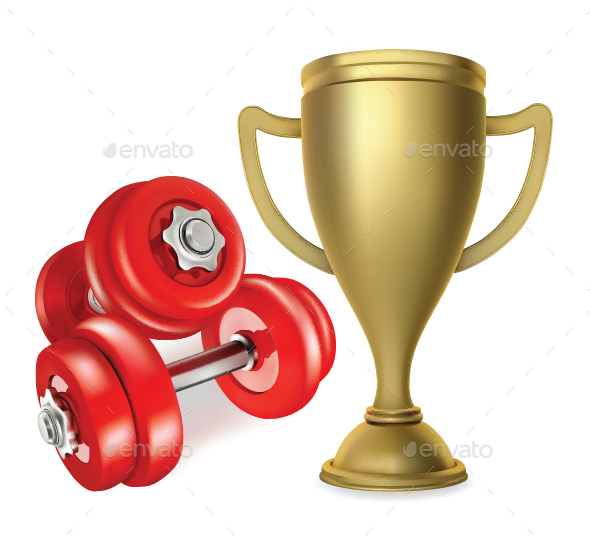 Gold Cup with Metal Dumbbells - Sports/Activity Conceptual
