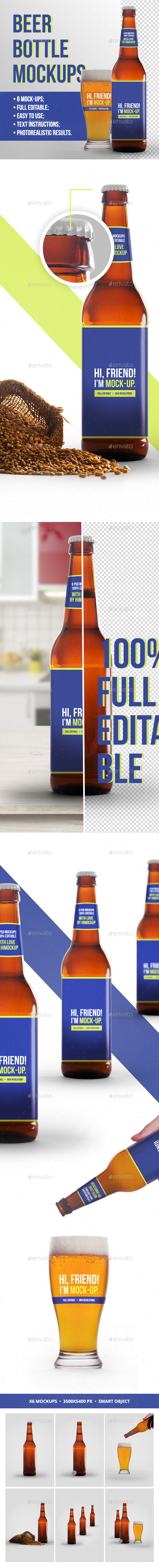 Beer Bottle Mockup 3 - Food and Drink Packaging