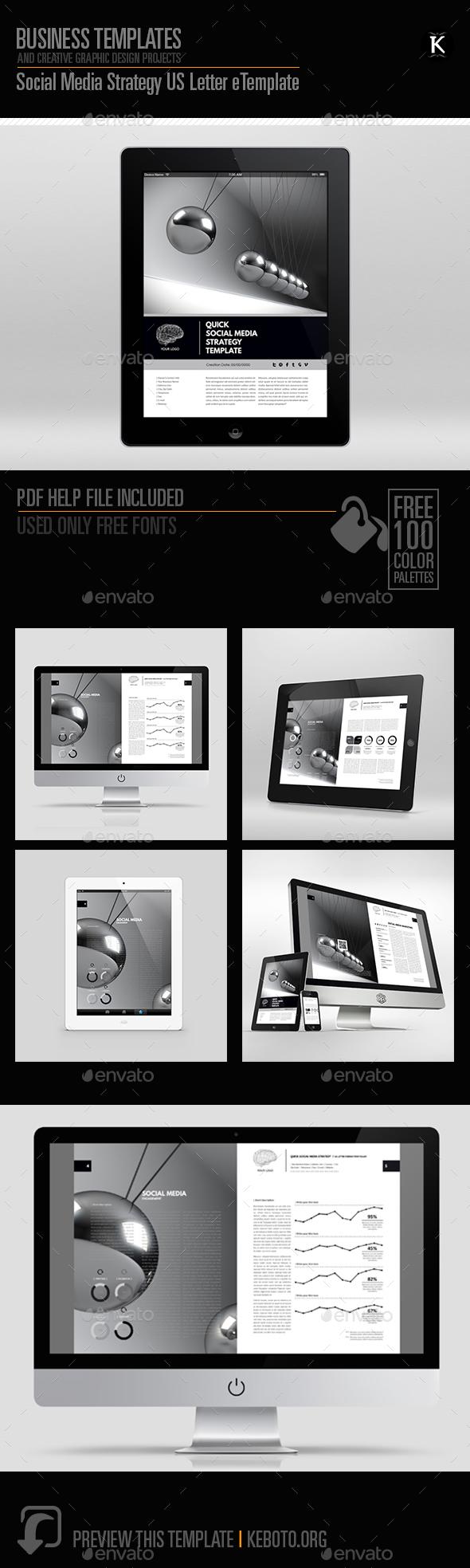 social media strategy us letter etemplate by keboto graphicriver. Black Bedroom Furniture Sets. Home Design Ideas