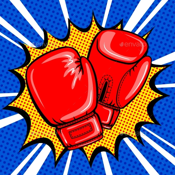 Boxing Gloves Pop Art Style Vector - Sports/Activity Conceptual