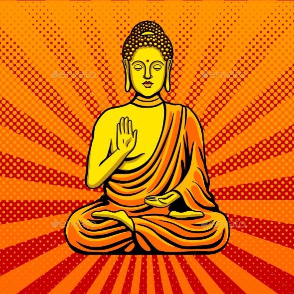 Buddha Statue Monument Pop Art Style Vector - Miscellaneous Vectors