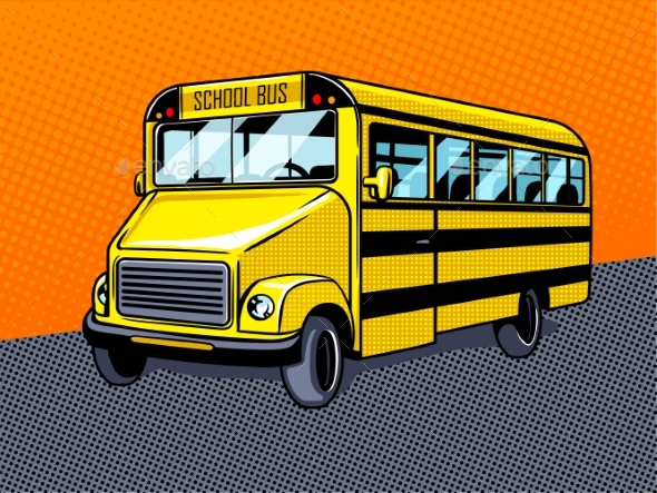 School Bus Pop Art Style Vector - Miscellaneous Vectors
