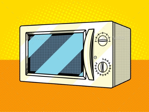 Microwave Oven Pop Art Style Vector - Man-made Objects Objects