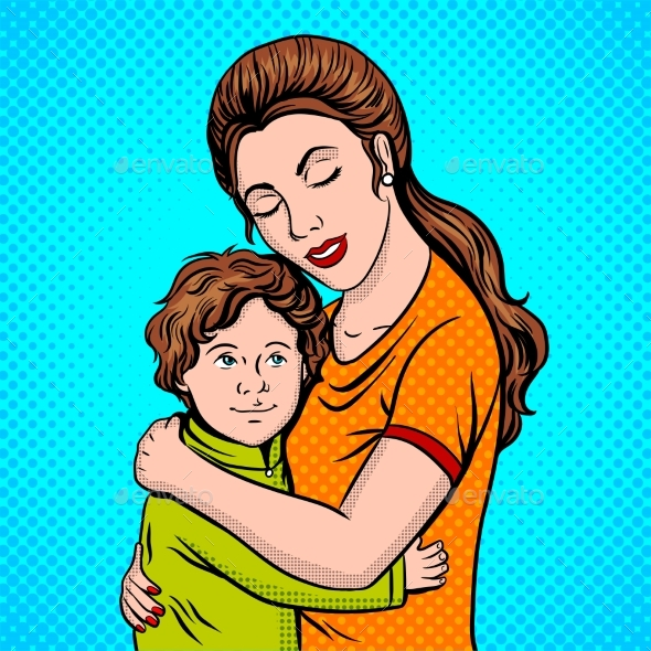Mother and Child Pop Art Style Vector Illustration - People Characters