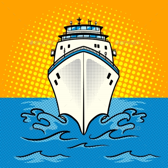 Cruise Ship Pop Art Style Vector - Man-made Objects Objects