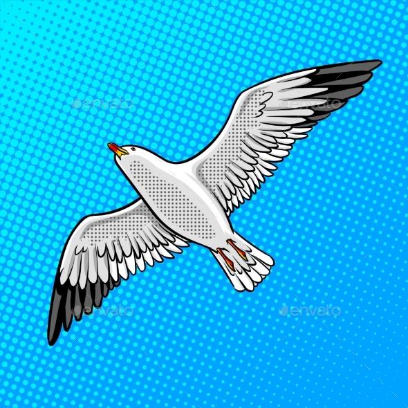 Sea Gull Bird Pop Art Style Vector Illustration - Animals Characters