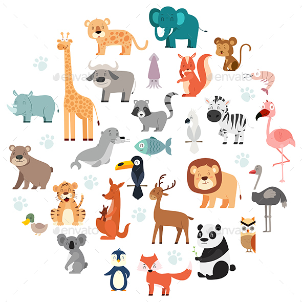 Wildlife Animals Cartoon Set - Animals Characters