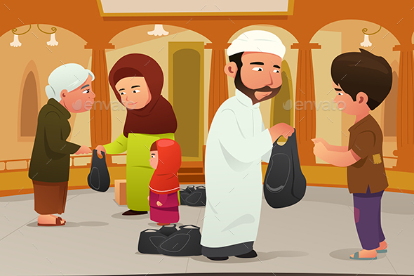 Muslims Giving Donations to Poor People - People Characters