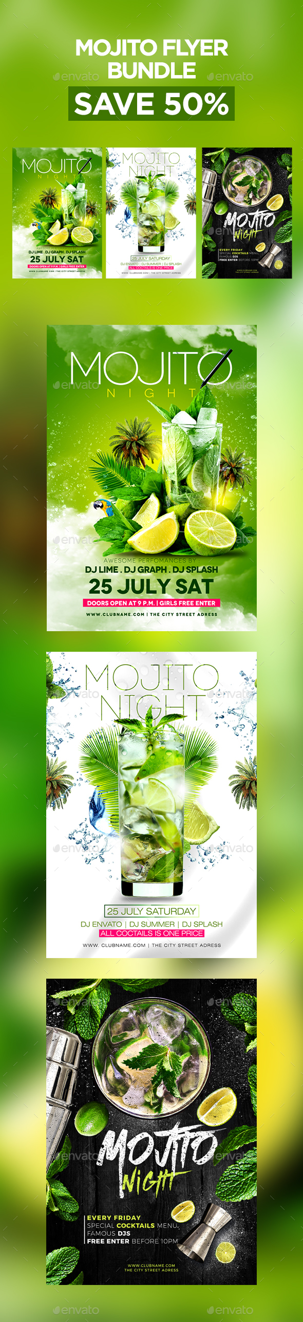 Mojito Flyer Bundle - Clubs & Parties Events