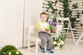 little kid boy celebrating his birthday holds piece of cake - PhotoDune Item for Sale