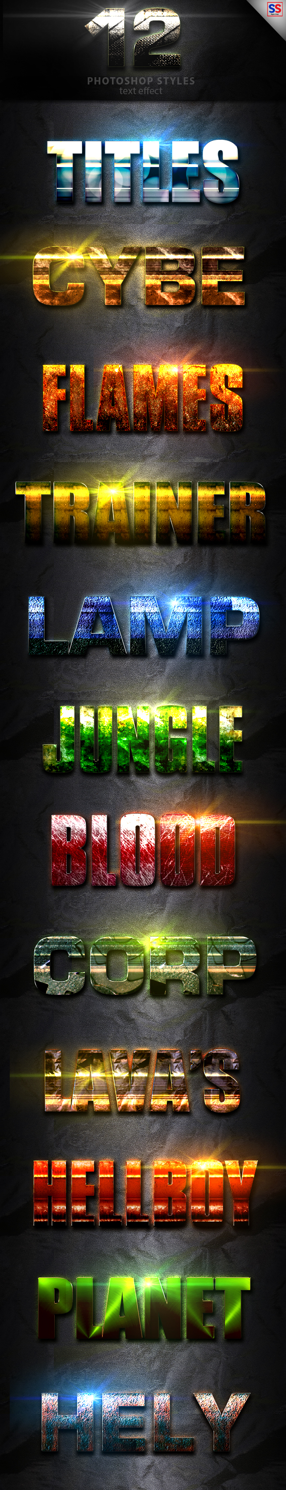 12 Light Photoshop text Effect vol 12 - Text Effects Styles