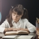 Smart Schoolgirl Studying Process