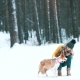 Beautiful Girl Walking with Her Dog in the Winter Wood