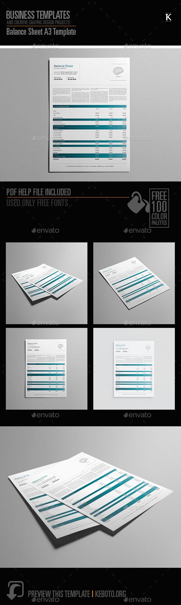 Balance Sheet A3 Template - Miscellaneous Print Templates