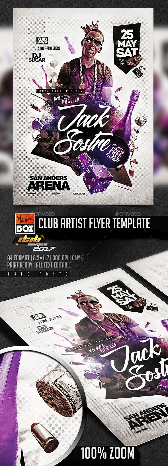 Club Artist Flyer Template - Flyers Print Templates
