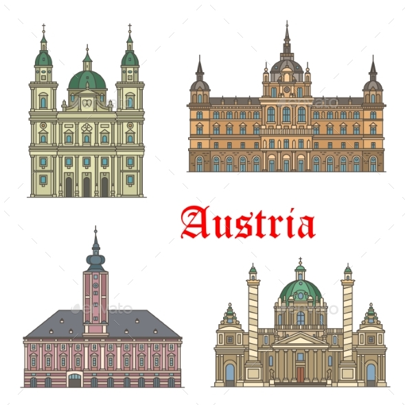 Austrian Travel Landmarks of Architecture Icon Set - Buildings Objects