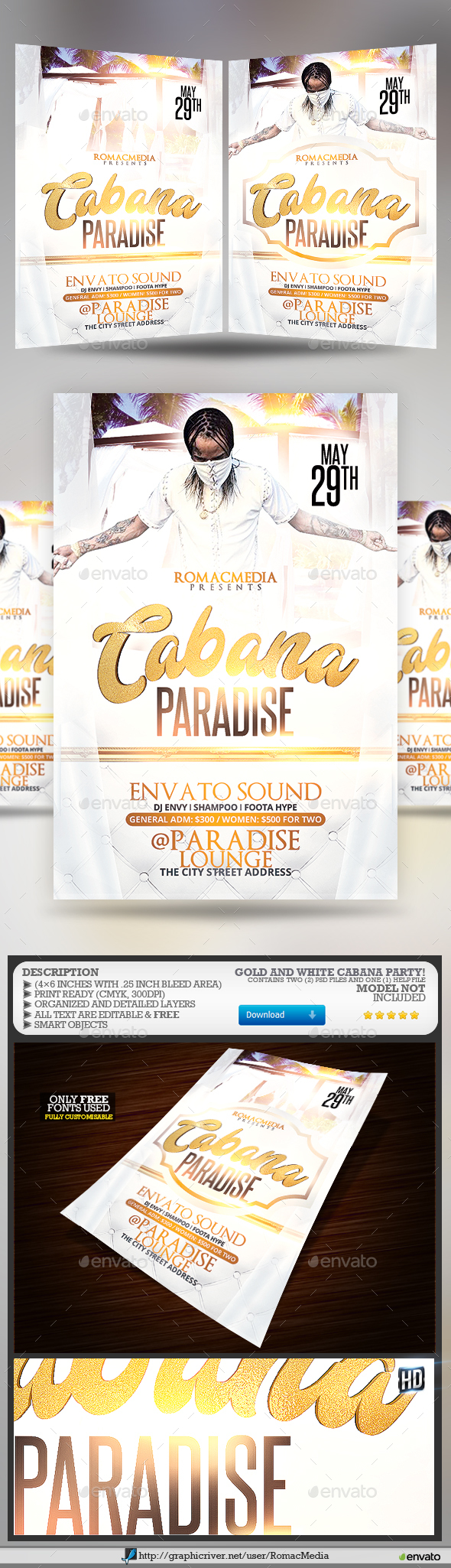 White and Gold Cabana Party Flyer - Clubs & Parties Events