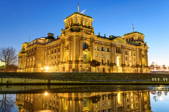 The Reichstag building at the river Spree in Berlin - Stock Photo - Images