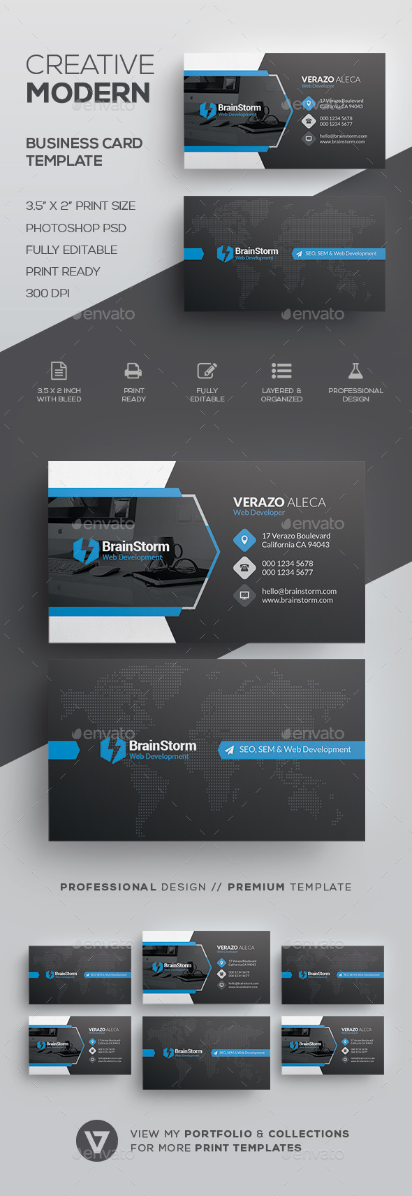 Modern Creative Business Card Template - Corporate Business Cards