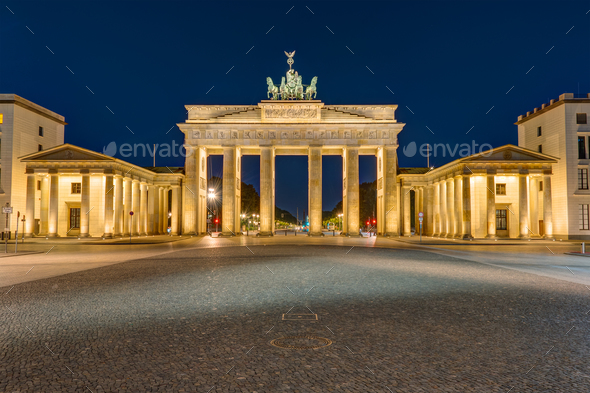 The Brandenburg Gate in Berlin at darkness - Stock Photo - Images