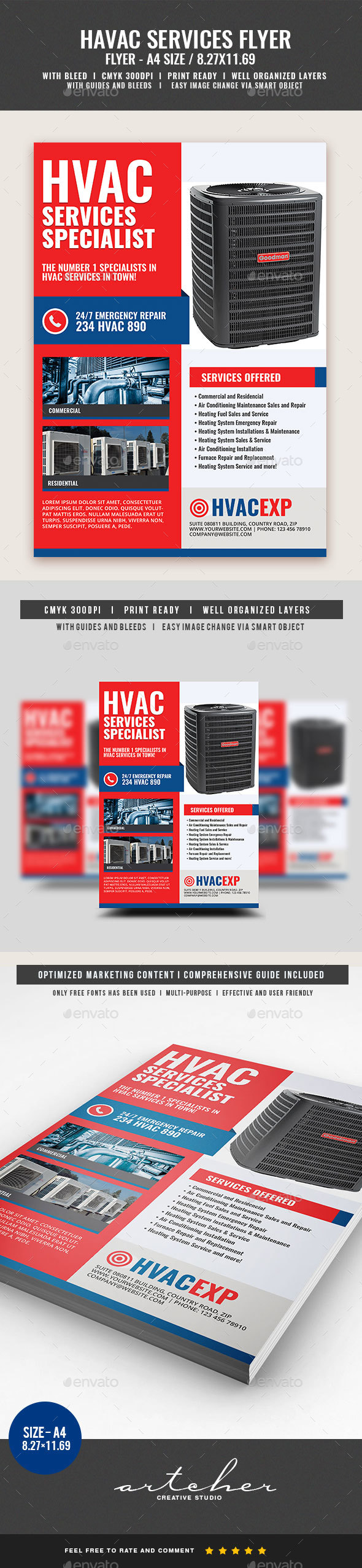 Heating and Cooling Services Flyer - Corporate Flyers