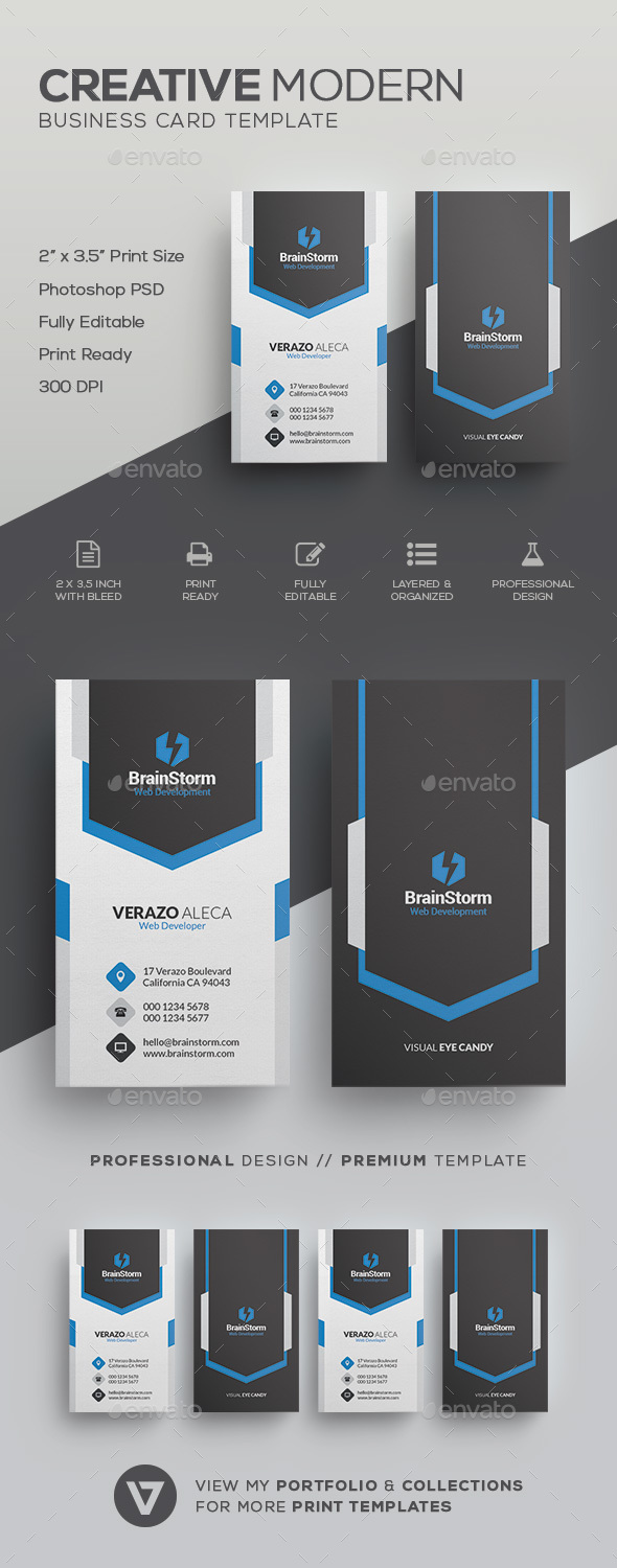 Vertical business card template by verazo graphicriver vertical business card template corporate business cards flashek Gallery