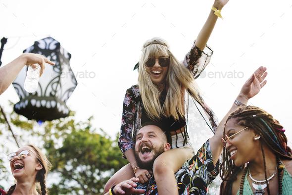 People Enjoying Live Music Concert Festival - Stock Photo - Images