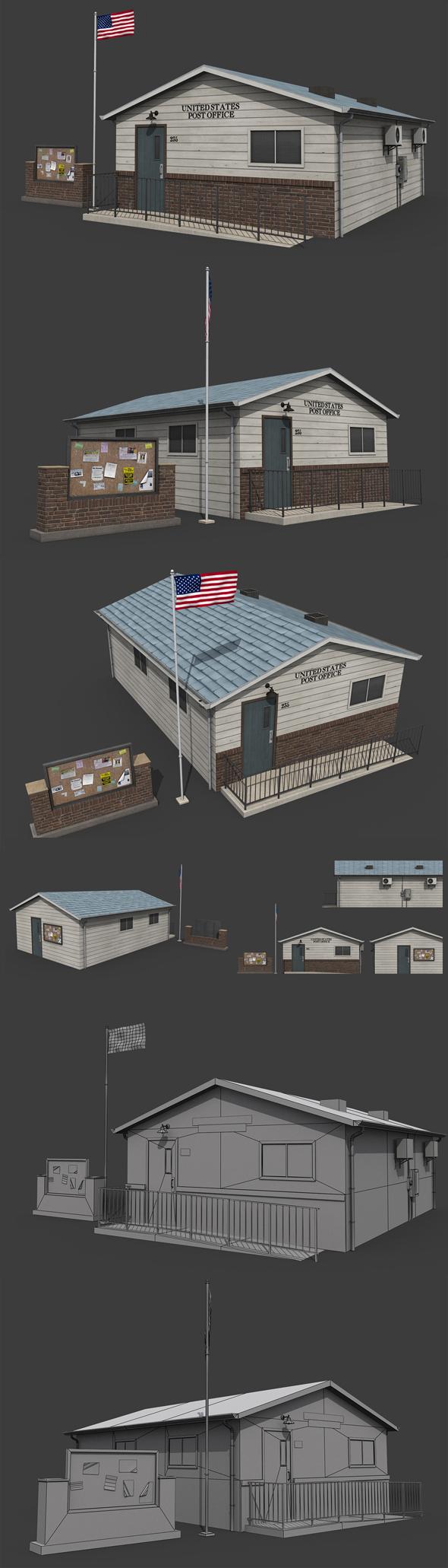 Suburban Post Office - 3DOcean Item for Sale