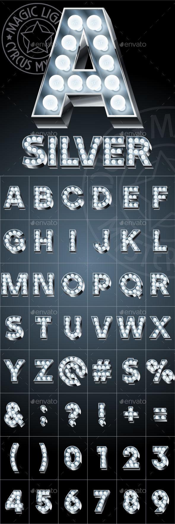 Silver Lamp Alphabet - Decorative Symbols Decorative