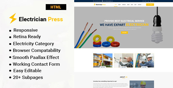 Electrician Press – Electricity Services HTML5 Template