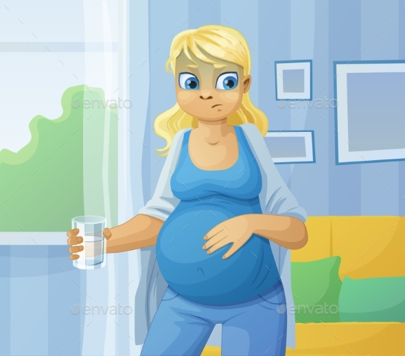 Pregnant Woman Feels Sick - Health/Medicine Conceptual