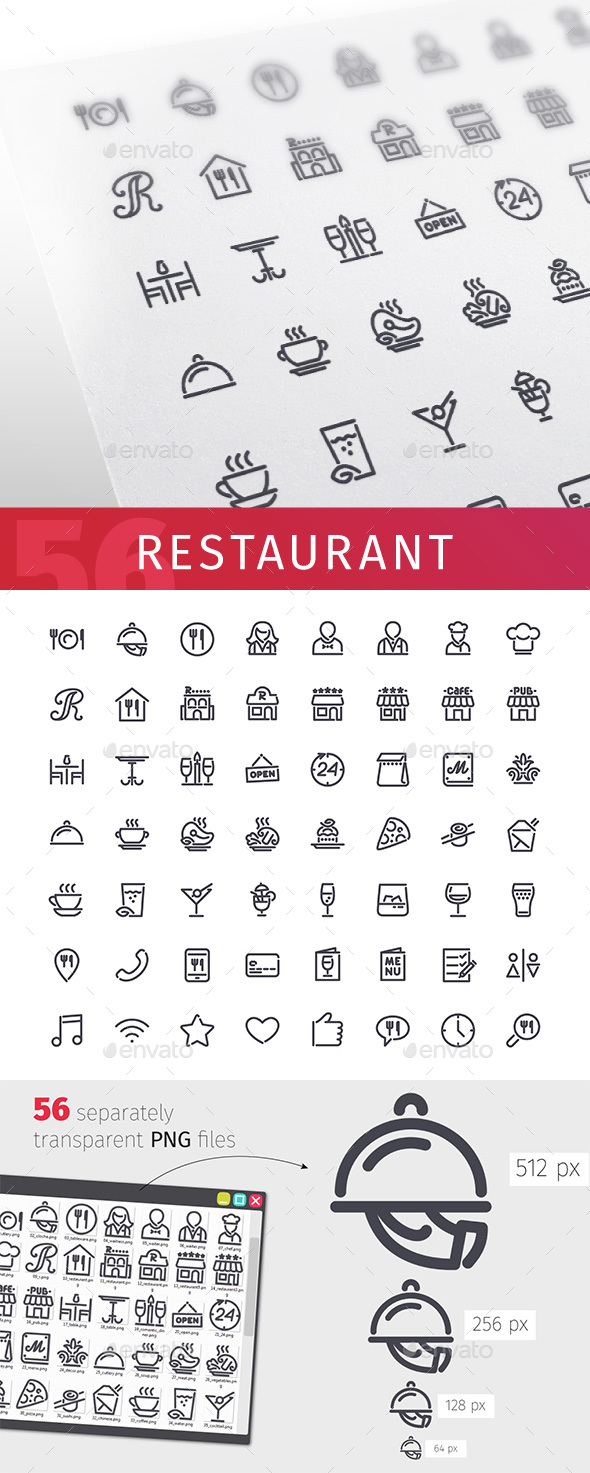 Restaurant Line Icons Set - Food Objects