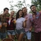 Young People Take Selfie Photo Using Cell Smart Phone Cooking Barbecue Friends Group Gathering On