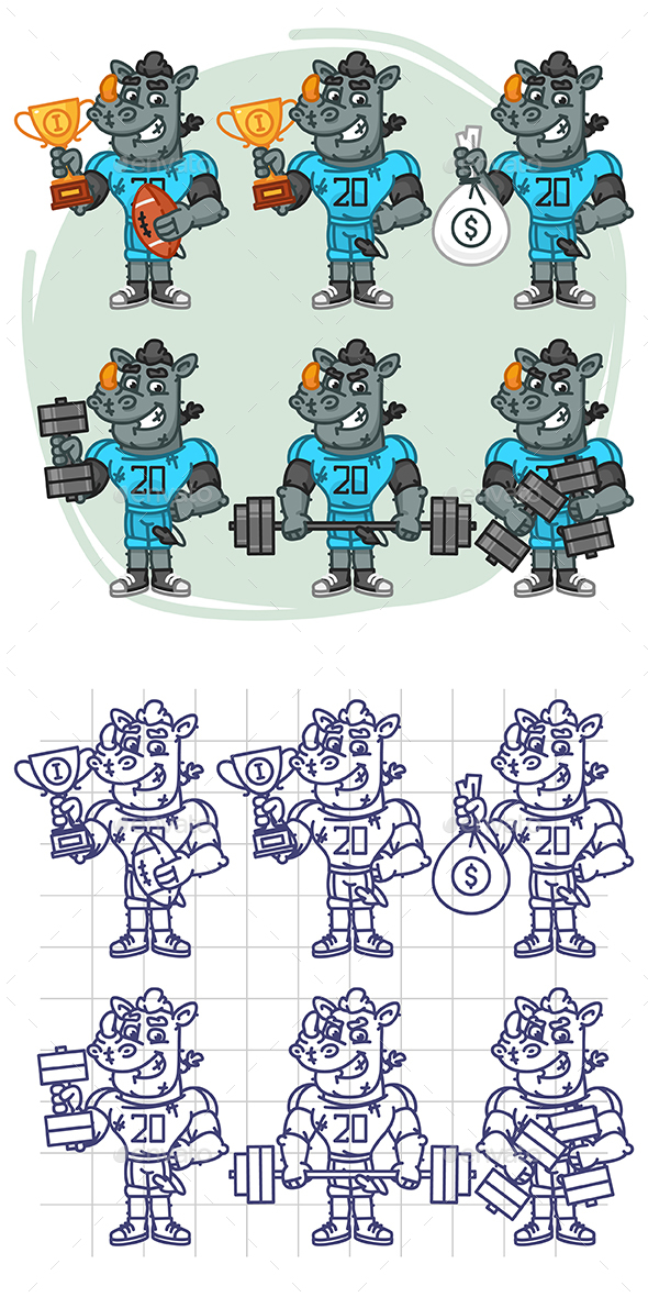 Rhino Football Player Character in Various Positions Part 1 - Animals Characters