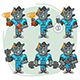 Rhino Football Player Character in Various Positions Part 1 - GraphicRiver Item for Sale