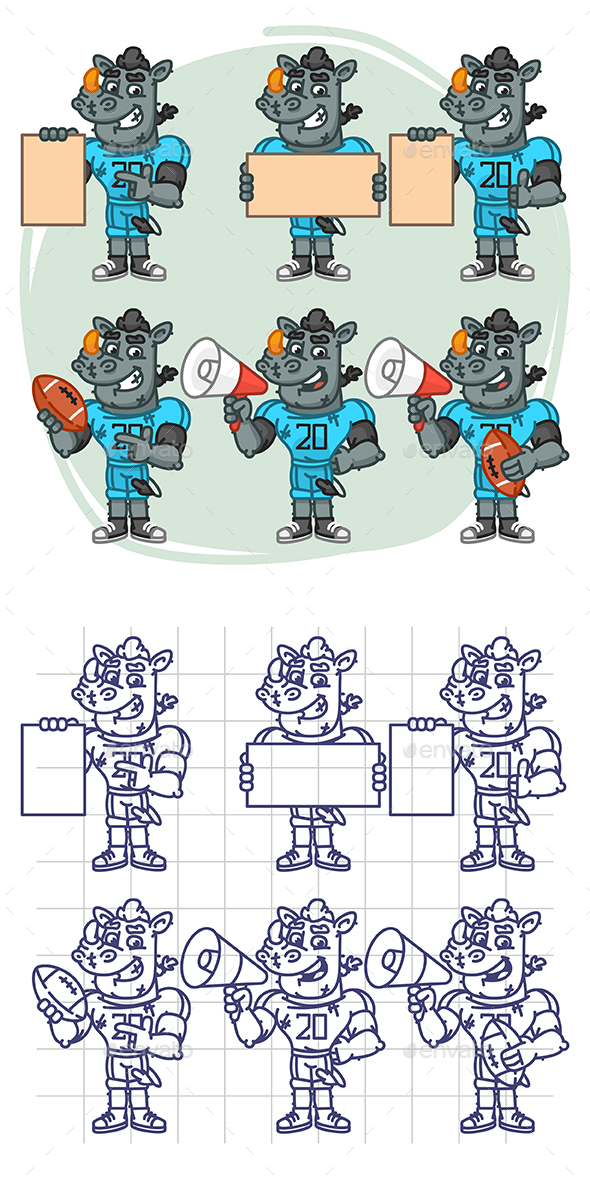 Rhino Football Player Character in Various Positions Part 2 - Animals Characters