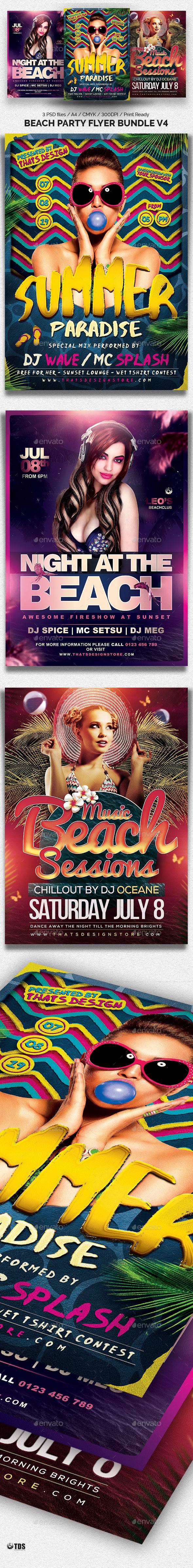 Beach Party Flyer Bundle V4 - Clubs & Parties Events