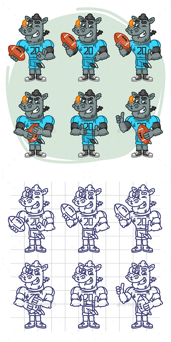 Rhino Football Player Character in Various Positions Part 3 - Animals Characters