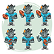 Rhino Football Player Character in Various Positions Part 3 - GraphicRiver Item for Sale
