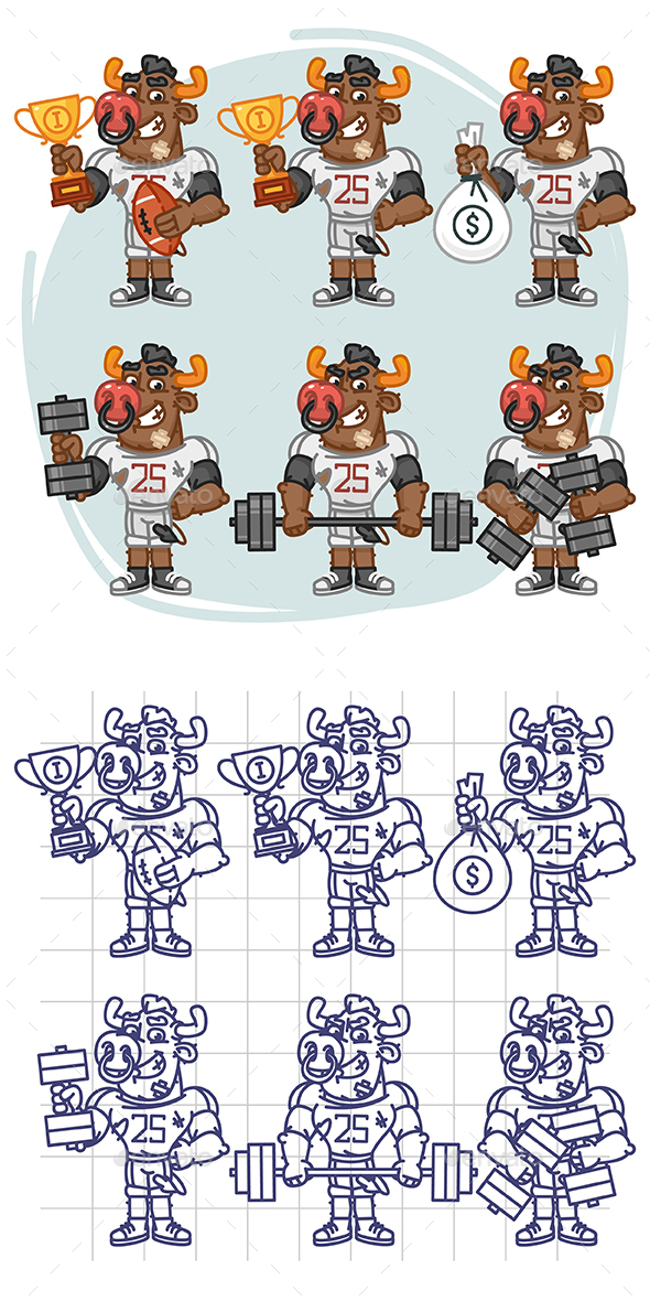 Bull Football Player Character in Various Positions Part 1 - Animals Characters