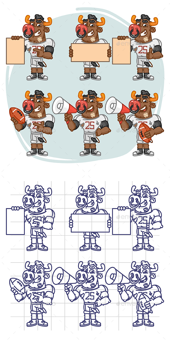Bull Football Player Character in Various Positions Part 2 - Animals Characters