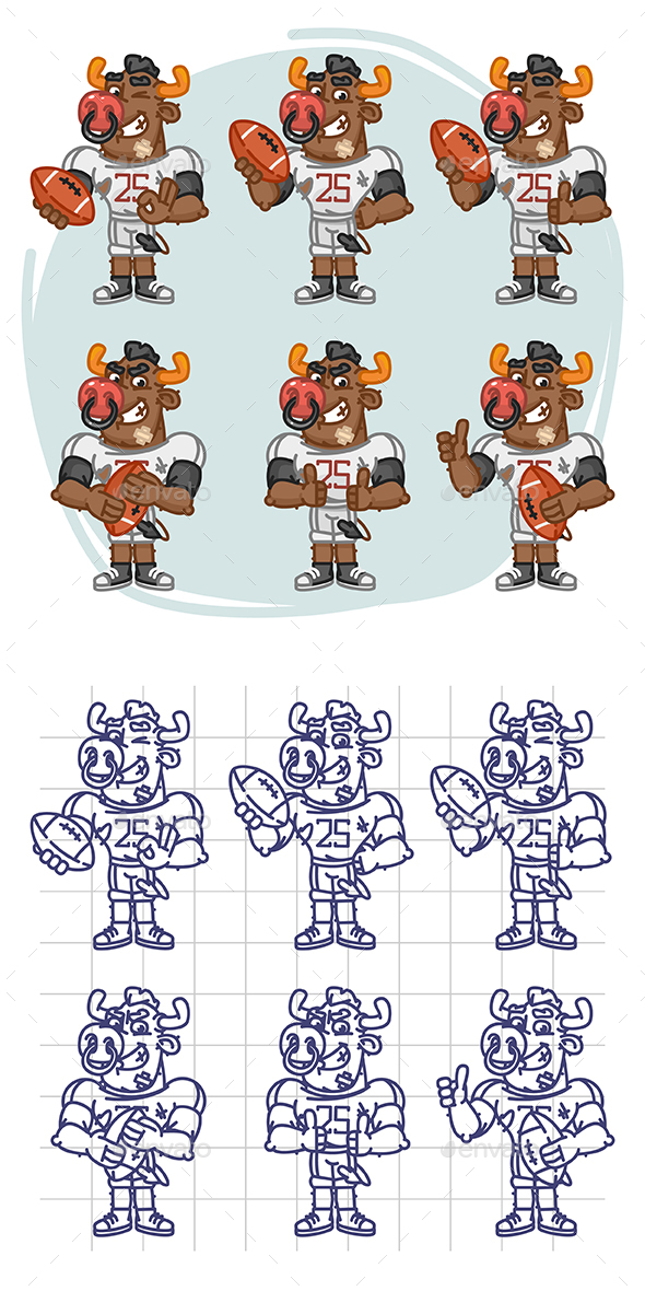 Bull Football Player Character in Various Positions Part 3 - Animals Characters