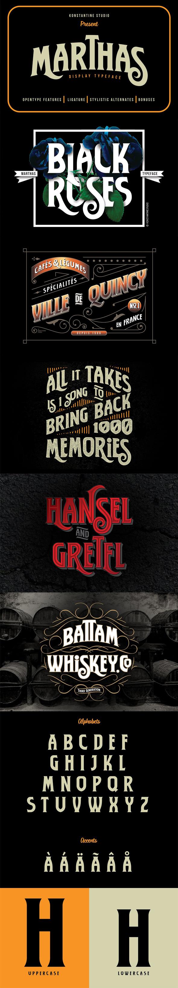 Marthas Vintage Branding font - Serif Fonts