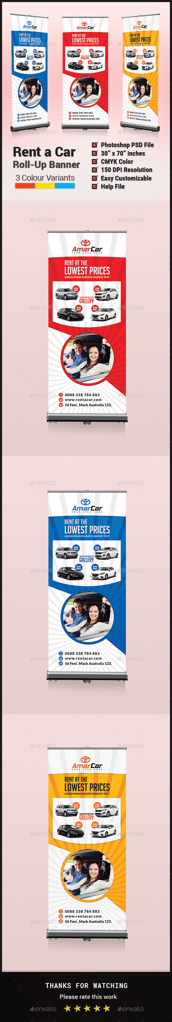 Rent a Car Roll-Up Banner - Signage Print Templates