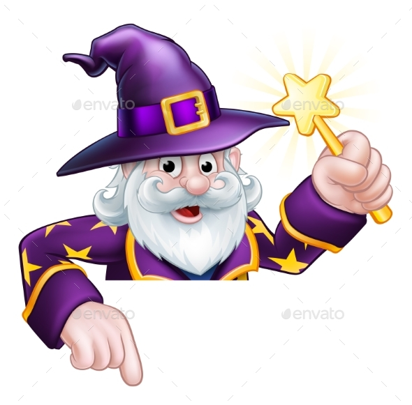 Cartoon Wizard Pointing - Miscellaneous Characters