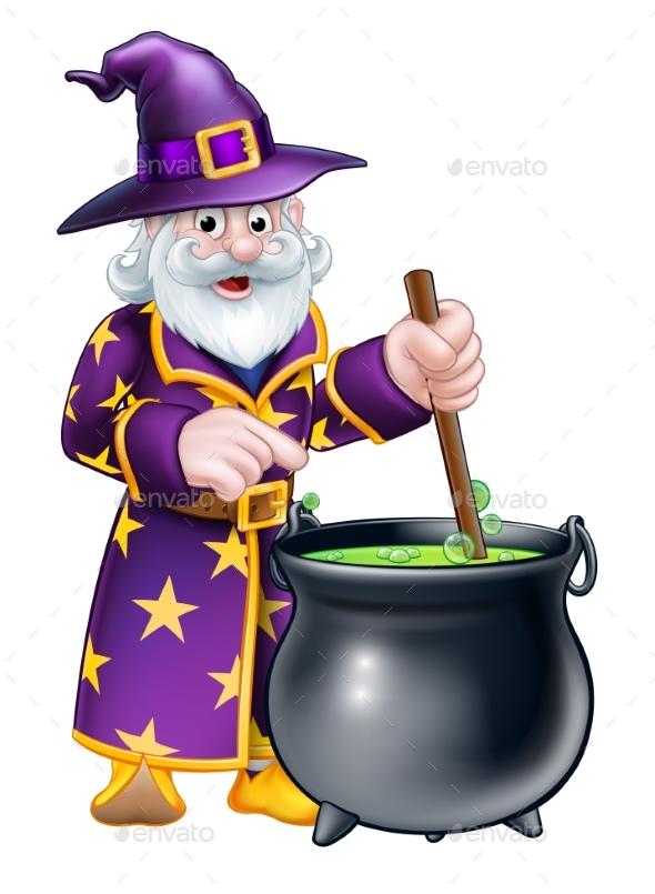 Cartoon Halloween Wizard - People Characters
